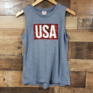 Modern lux reverse sequins american flag USA top
